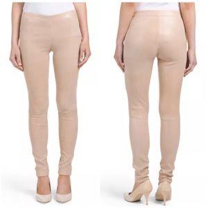 J Brand Edita Beige Midrise Leather Leggings XS